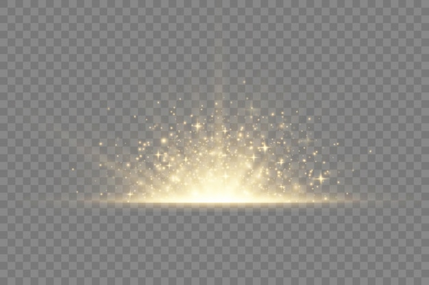 Star explosion on transparent background, yellow glow lights sun rays, flare special effect with rays of light and magic sparkles, bright and shining golden star,