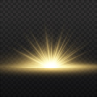 Star explosion on transparent background, yellow glow lights sun rays, flare special effect with rays of light