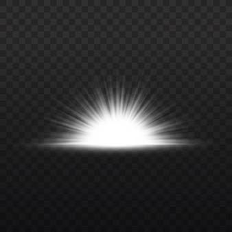 Звездный взрыв, белое свечение, огни солнечных лучей, вспышка спецэффекта с лучами света и волшебными блестками, яркая и сияющая золотая звезда, векторная иллюстрация
