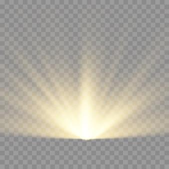 Звездный взрыв, желтое свечение освещает солнечные лучи, вспыхивает спецэффект с лучами света и волшебными блестками, яркая и сияющая золотая звезда, векторная иллюстрация