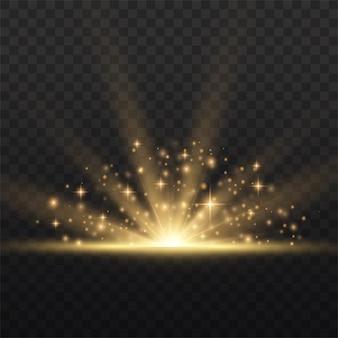 Звездный взрыв желтое свечение огни солнечные лучи вспышка специальный эффект