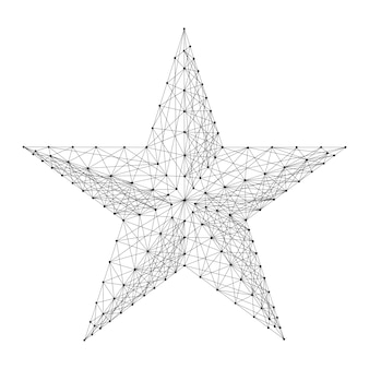 Star five pointed from abstract futuristic polygonal black lines and dots. vector illustration.