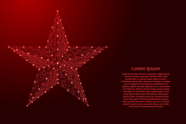 Star five pointed from futuristic polygonal red lines and glowing stars for banner, poster, greeting card.