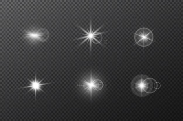 Star flash set on transparent background