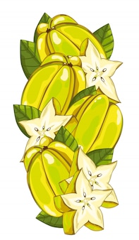 Star fruit isolated on white