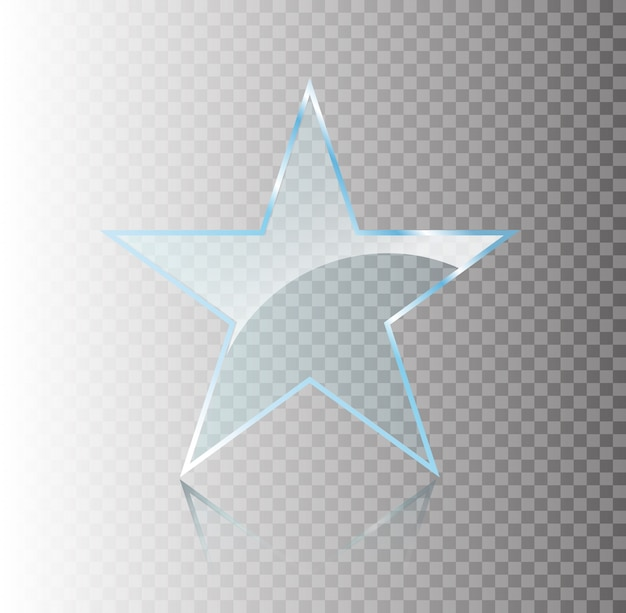 Star glass shine shape template on transparent background. realistic 3d design. transparent object.