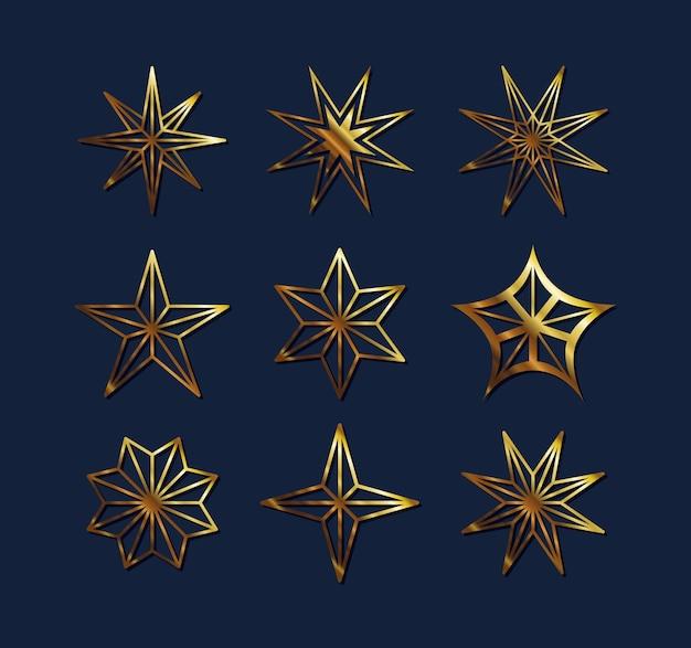 Дизайн набора значков в стиле звездного золота