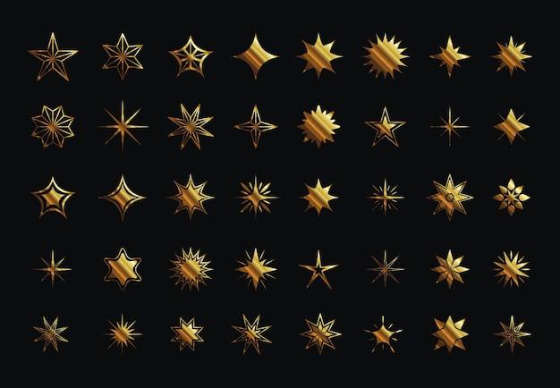 Набор иконок в стиле звездное золото
