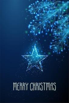 モミの木の枝にぶら下がっている星。明けましておめでとうメリークリスマスのご挨拶