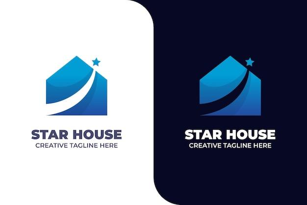Star house building real estate logo