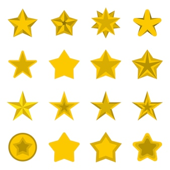 Star icons set, flat ctyle