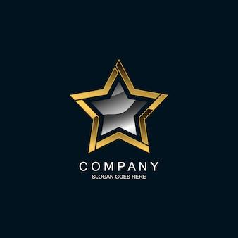 Звезда в металлическом дизайне логотипа