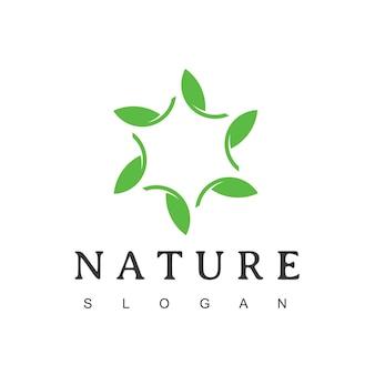 Star leaf logo, nature symbol