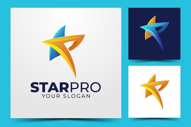 Star and letter p creative logo