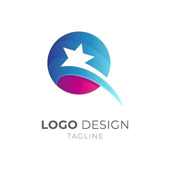 Шаблон дизайна логотипа звезды буква q