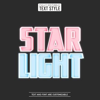 편집 가능한 텍스트 효과 빛나는 별빛 엠 보스