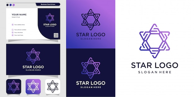 Звездный логотип и дизайн визитной карточки