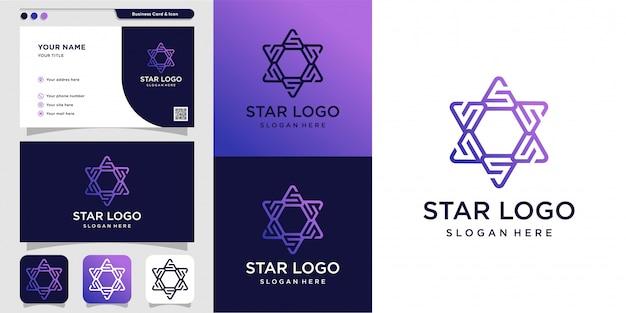 Star logo and business card design illustration