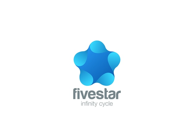 Star logo  icon. negative space style.