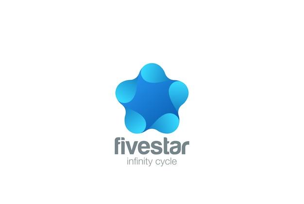 星のロゴのアイコン。ネガティブスペーススタイル。