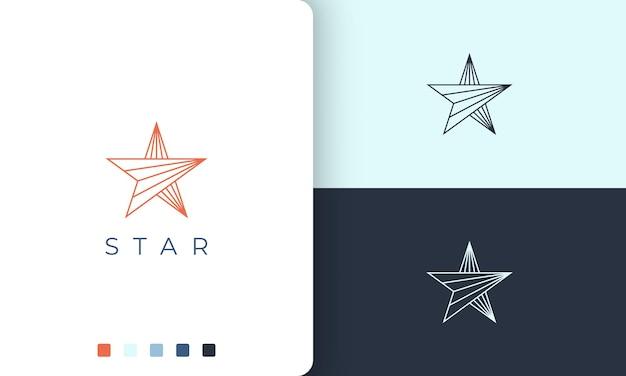 Звездный логотип в современной форме моно линии