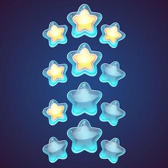 스타 로고 세트. 스타 아이콘입니다. 리더 보스 스타, 승자, 스타 등급, 순위. 스타 점성술 기호. 스타 아이콘 로고. 천문학 스타 로고