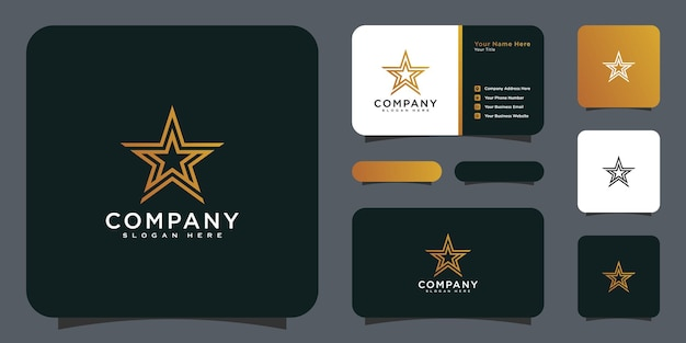 Star logo vector line style design and business card