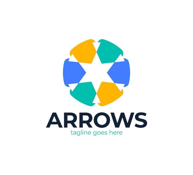 Звездный логотип с символом стрелки. красочный абстрактный творческий логотип со звездой и стрелкой.