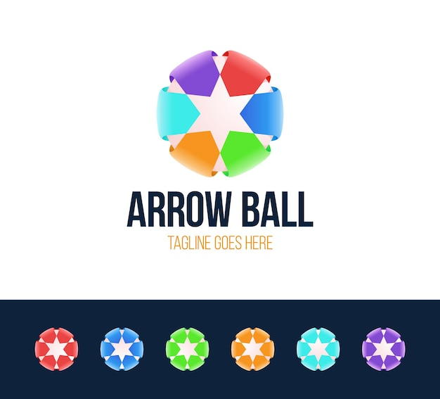 Star logo with arrow symbol. colorful abstract creative logotype with star and arrow.
