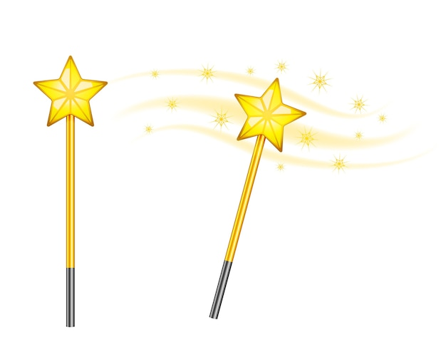 Star magic wands isolated