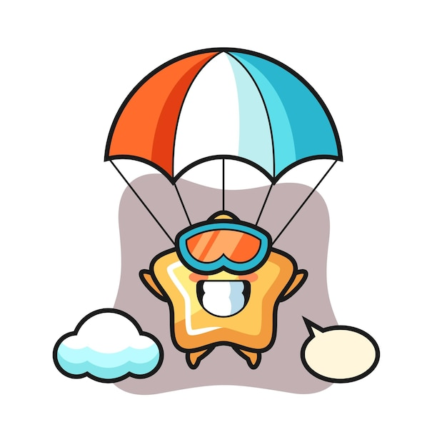 Star mascot cartoon is skydiving with happy gesture, cute style design for t shirt, sticker, logo element