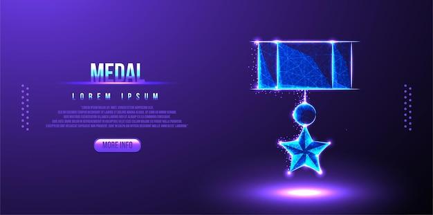 Низкополигональная каркасная звездная медаль