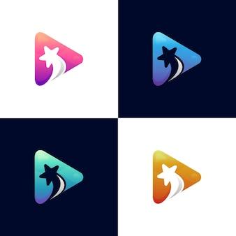 Star media logo design template with color variation