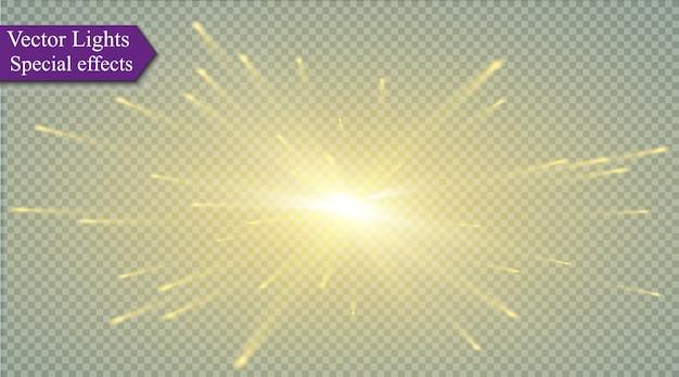 Звезда на прозрачной предпосылке, световой эффект, иллюстрация. взрыв с блестками.