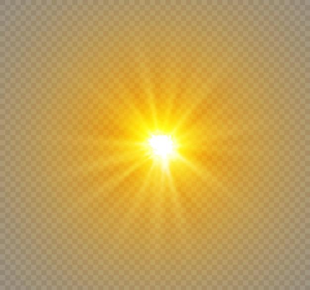 透明な背景に星、光の効果