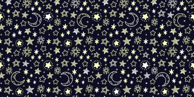 Star pattern. starry sky, crescent moon and bright yellow stars seamless  illustration