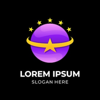 Star and planet logo vector with 3d purple and yellow color style