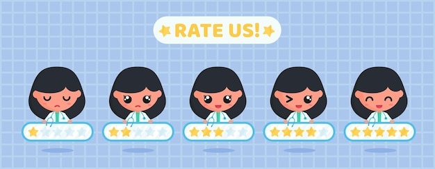 Star rating board for customer satisfaction survey of medical service with doctor character