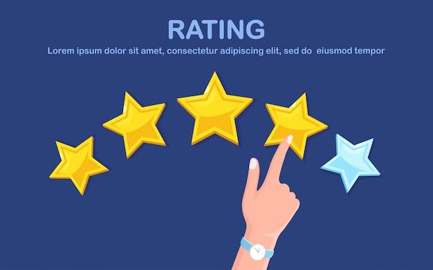 星の評価。クライアントのフィードバック、顧客レビュー。マーケティングサービスの調査。 fkatデザイン