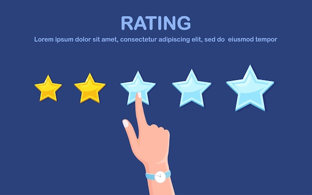 Star rating. client feedback, customer review. survey for marketing service.   .