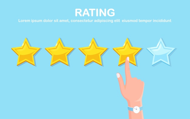 Star rating. client feedback, customer review. survey for marketing service.