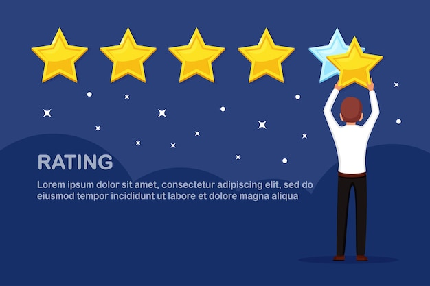 Star rating. client feedback, customer review. survey for marketing service