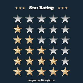 Star rating concept with realistic stars
