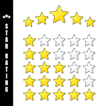 Star rating. illustration of golden 5 star rating in white background. the number of stars depending on the rating. illustration.