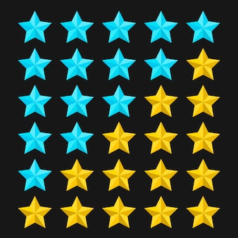 Star rating template with colored stars. concepts of quality product or service. stars rating  on black background.  illustration.