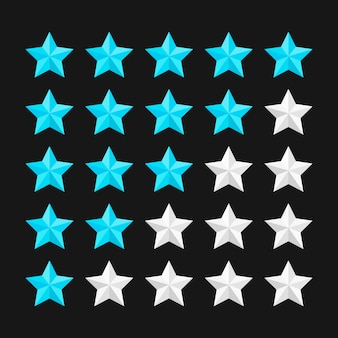 Star rating template with colored stars.  illustration.