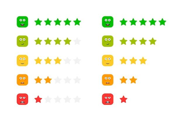 Звездный рейтинг с разными эмоциями на лице. шкала обратной связи. набор смайликов злой, грустный, нейтральный, довольный и счастливый.