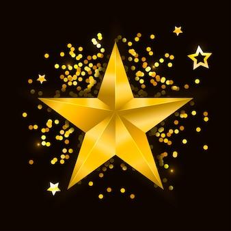 Star realistic metallic golden isolated yellow 3d christmas