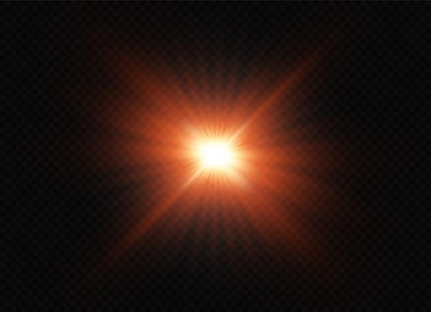 透明な背景に赤い星が爆発します。輝く魔法のほこりの粒子。輝く星。透明な太陽、明るいフラッシュ。