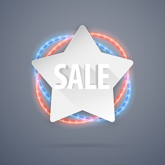 Star sale banner with neon decorations
